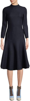 Agnona Long-Sleeve Mock-Neck A-Line Wool Crepe Midi Dress, Navy