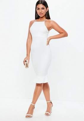 Missguided White Scuba Frill Hem Midi Dress