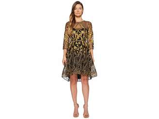 Marchesa 3/4 Length Sleeve Embroidered Hi-Lo Cocktail w/ Metallic Lace Trim Women's Dress