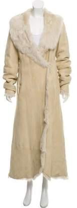 DKNY Shearling Long Sleeve Maxi Coat