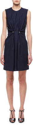 Carven Jewel-Neck Ruched Dress W/ Studs, Navy