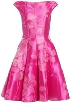 Talbot Runhof Women's Hydrangea Jacquard Fit-&-Flare Dress - Cherry Blossom - Size 10