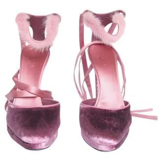 Gucci Pink Velvet Sandals