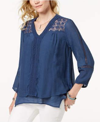 Style&Co. Style & Co Lace-Yoke Handkerchief-Hem Top, Created for Macy's