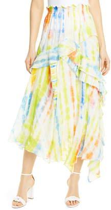 Tanya Taylor Tie Dye Handkerchief Hem Silk & Cotton Skirt