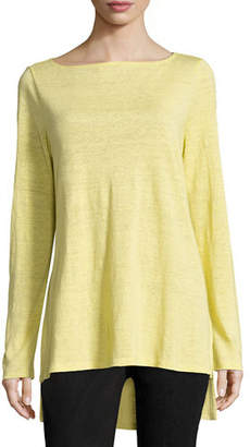 Eileen Fisher Bateau-Neck Organic Linen Jersey Top, Plus Size