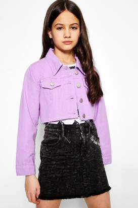 boohoo Girls Denim Cropped Jacket