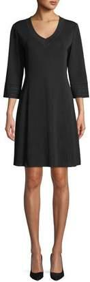 Misook 3/4-Sleeve V-Neck A-line Dress, Petite