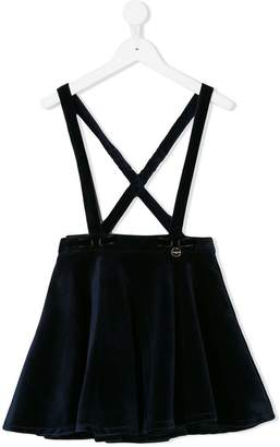 Lanvin Enfant velvet flared skirt with braces