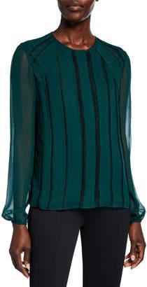 Jason Wu Collection Chiffon Lace-Striped Long-Sleeve Blouse