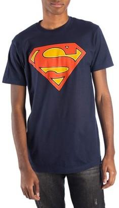 Super Heroes & Villains Big Men's Navy DC Comics Glow-in-the-Dark Superman Logo Short Sleeve Tee