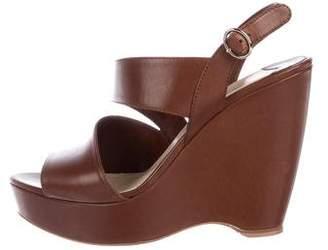Prada Leather Peep-Toe Wedges