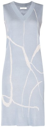 Paisie V-Neck Sleeveless Dress With Marble Print In Light Blue & Light Grey