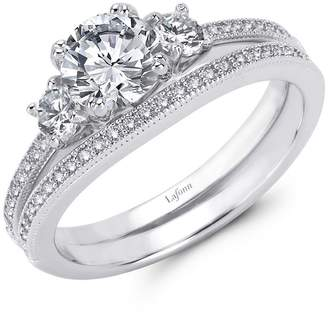 Lafonn Classic Sterling Silver Platinum Plated Lassire Simulated Diamond Engagement Ring Set (1.65 CTTW)