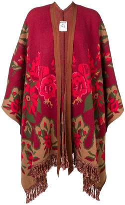 Semi-Couture Semicouture floral fringed knit poncho