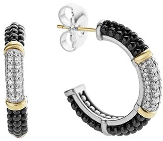 Women's Lagos 'Black & White Caviar' Diamond Hoops $2,500 thestylecure.com