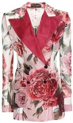 Dolce & Gabbana Double-breasted Satin-trimmed Floral-print Silk-organza Blazer