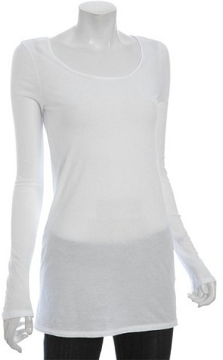 Fluxus white jersey scoop neck long sleeve tunic