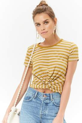 Forever 21 Striped Twist-Front Top
