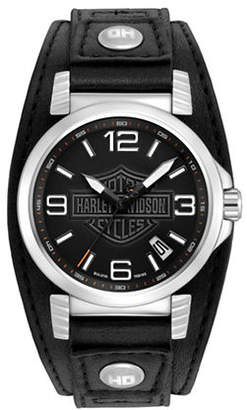 Harley-Davidson Analog The Ghost Bar and Shield Collection Leather Strap Watch