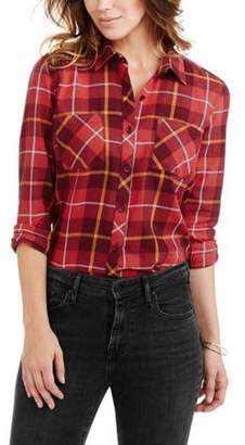Faded Glory Women's Plaid Button Front Two-Pocket Shirt