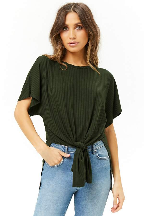 Forever 21 Ribbed Tie-Front Top