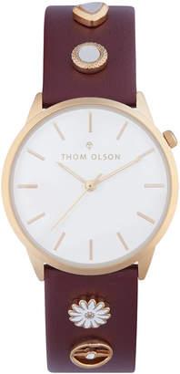 Thom Olson Women's Burgundy Leather Strap Watch 34mm