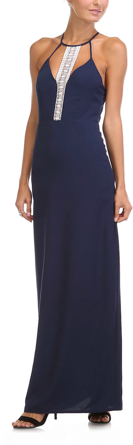 Navy & White Lace-Accent Maxi Dress