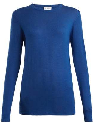 Raey Long Line Fine Knit Cashmere Sweater - Womens - Mid Blue