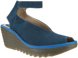 Fly London Perforated Wedge Sandals w/ Adj. Strap - Yala Perf