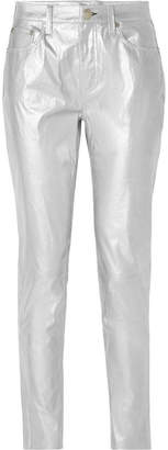 Rag & Bone Metallic Leather Skinny Pants - Silver
