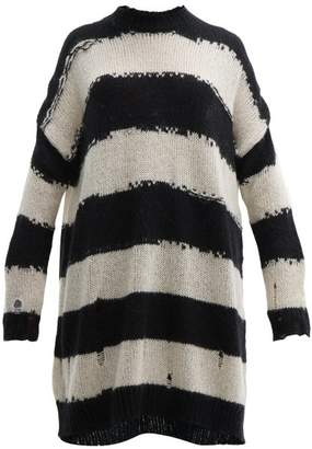 Acne Studios Kemily Distressed Stripe Wool Sweater Dress - Womens - Black White