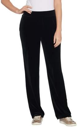 Susan Graver Petite Stretch Velvet Pull-On Wide Leg Pants