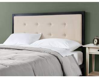 Zinus Button Tufted Taupe Upholstered Metal Headboard, Queen