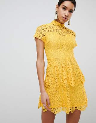 Missguided High Neck Lace Mini Dress