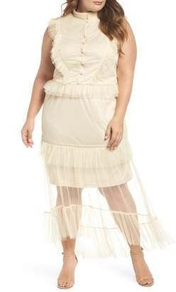 Glamorous Ruffle Sheer Hem Maxi Dress (Plus Size)