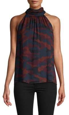 Joie Erola Sleeveless Silk Turtleneck Blouse