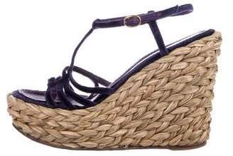 Saint Laurent Velvet Wedge Sandals