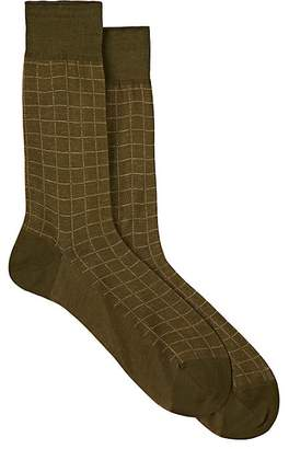 Barneys New York Men's Checked Cotton Mid-Calf Socks
