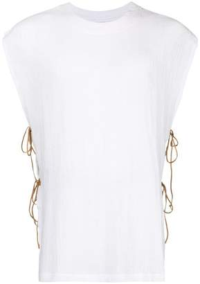 Caravana round neck shirt with leather ties