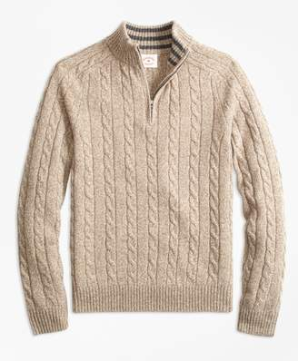 Brooks Brothers Cable-Knit Wool-Blend Half-Zip Sweater