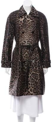 St. John Animal Print Trench Coat