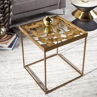 Safavieh Lilian Rustic Glam Leaf Side Table, Antique Brass