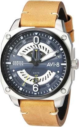 Hunter AVI-8 Men's 'Hawker Hunter' Quartz Stainless Steel and Leather Aviator Watch, Color:Brown (Model: AV-4057-02)
