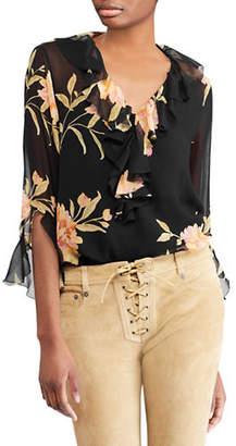 Polo Ralph Lauren Ruffled Floral Silk Blouse