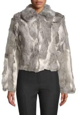 Adrienne Landau Textured Rabbit Fur Coat
