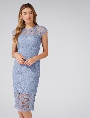 66c688f923 Forever New Tara Petite Lace Pencil Dress - Brilliant Blue - 4