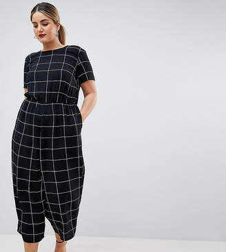 Asos DESIGN Curve check print jumpsuit with short sleeve