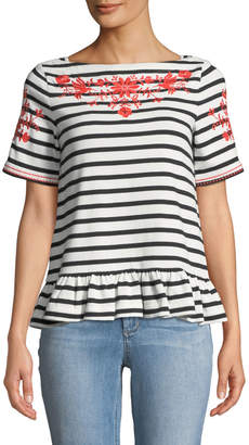 Kate Spade broome street floral embroidered striped tee