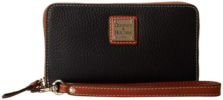Dooney & Bourke Pebble Leather New SLGS Zip Around Credit Card Phone Wristlet Wristlet Handbags - BLACK W/ TAN TRIM - STYLE